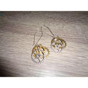 Steampunk earrings gear sprocket earrings cog